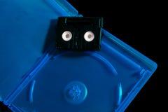 Mini DV tape and bluray cover Stock Photo