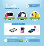 Mini e-commerce website template. Vector mini eshop page. Web design template with sample text. You can use this modern designs for your web projects. This file Royalty Free Stock Photo