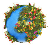 Mini Earth planet. Creative abstract global ecology and environment protection business concept: mini green Earth planet globe with world map with green grass stock illustration