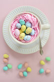 Mini Easter eggs in cup in vertical format Royalty Free Stock Photography