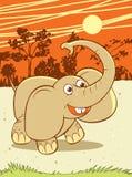 Mini elephant. Elephant and Africa scene cartoon style illustration Stock Photography