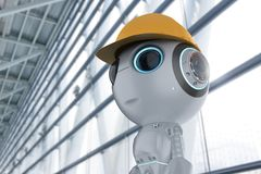 Mini engineer robot. 3d rendering cute artificial intelligence robot with engineer character royalty free illustration