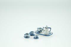 Mini ensemble en céramique de tasse de thé Photographie stock