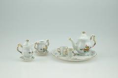 Mini ensemble en céramique de tasse de thé Image libre de droits