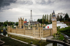 Mini Europe med Big Ben och Eiffeltorn arkivbild