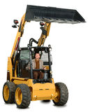 Mini excavator with driver. A little excavator with the driver inside looking up Stock Photography
