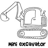 Mini excavator with hand draw Royalty Free Stock Photos