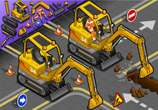 Mini Excavator isométrico com o homem no trabalho em Front View ilustração stock