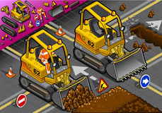 Mini Excavator isométrico em Front View ilustração royalty free