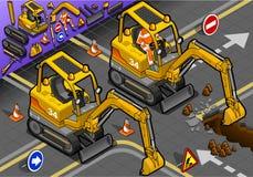 Mini Excavator isométrique avec l'homme au travail en Front View Photographie stock libre de droits