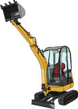 Mini excavator.Vector illustration Stock Photography