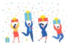 Mini executivos engraçados com presentes Conceito do negócio do ano novo ilustração royalty free