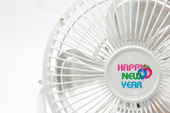 Mini fan blanca aislada en el fondo blanco Fotografía de archivo libre de regalías