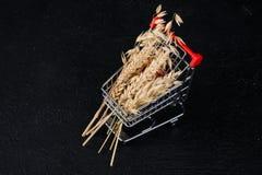 Mini food cart with food stock image