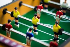 Mini football table in close up view. royalty free stock images
