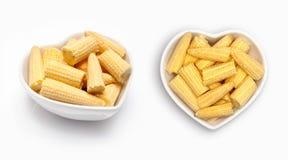Mini fresh corn    in a heart shaped bowl Stock Photos