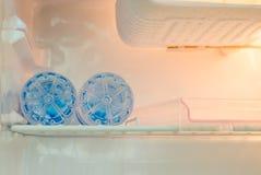 Mini fridge of two bottled water Stock Images