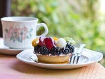 Mini fruit tart. Fruit tart for afternoon tea break stock images
