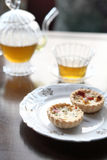 Mini fruit tart and tea Royalty Free Stock Images