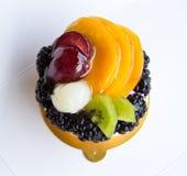 Mini fruit tart. Top view royalty free stock photography