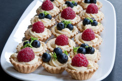 Mini Fruit Tarts. A selection of mini tarts filled with creme patisserie, raspberries, blueberries and lime zest Royalty Free Stock Photos