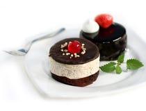 Mini gâteau de châtaigne et gâteau de chocolat mini Photo stock