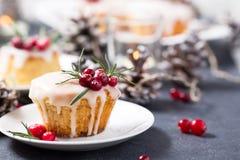 Mini gâteau de Noël avec le glaçage, les canneberges et le romarin de sucre Photos libres de droits