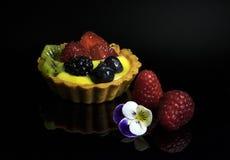 mini galdéria deliciosa com creme com framboesas e mirtilos fotografia de stock