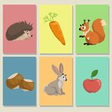 Mini game cards. Cute animals and their food. Hedgehog, apple, squirrel and hazelnuts, hare bunny and carrot. Educational illust royalty free illustration