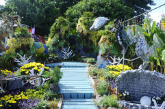 Mini garden built using recycled materials Royalty Free Stock Photo