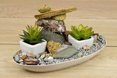 Mini-garden with stones. Mini-garden with balanced stones Stock Photo