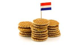 Mini gaufres hollandaises traditionnelles avec le toothpick d'indicateur photos libres de droits