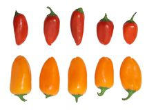 Mini geïsoleerdeA groene paprika's Stock Afbeeldingen