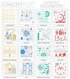 Mini genética del concepto de Infographics e iconos de la bioquímica para el web Elementos superiores de los iconos de los gráfic stock de ilustración