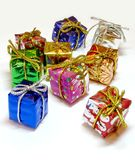 Mini gift boxes - 1. Colorful decorative mini gift boxes on white background royalty free stock photography