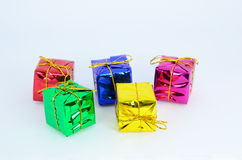 Mini gift boxs colorfull Royalty Free Stock Photos