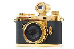 Mini gift golden camera Stock Photos