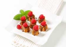Mini gingerbread squares with melted chocolate. Bite-sized gingerbread squares with liquid chocolate and fresh raspberry on top Royalty Free Stock Photography