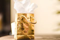 Mini gold gift stock photo