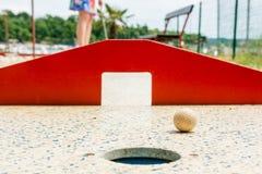 Mini golf, closeup of red gates. Royalty Free Stock Photo