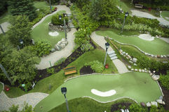 Mini golf course. Aerial view of a mini golf course Stock Images