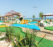 Mini golf course on the beach of Sunny Beach in Bulgaria stock images