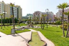 Mini golf course on Sunny Beach in Bulgaria stock image