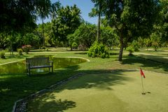 Mini golf field at the tropical island at Maldives. Mini golf field located at the beautiful tropical island at Maldives Stock Photography