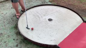 Mini golf game for children and families in a small club