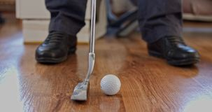 Mini golf at home close-up stock video footage