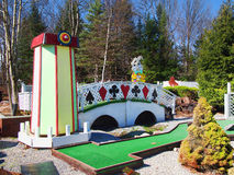 Mini golf. Old Forge, New York, USA. May 10, 2016. Over the Rainbow Mini Golf, a Wizard of Oz themed minature golf course in the tourist town of Old Forge, New Royalty Free Stock Photography