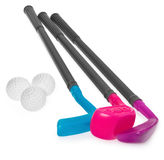 Mini golf set, toy for children, plastic golf stick and balls. Stock Photos