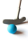 Mini Golf Material - 01. Mini Golf Stick with colored balls on an isolated background Royalty Free Stock Image
