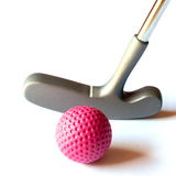 Mini Golf Material - 02. Mini Golf Stick with colored balls on an isolated background Stock Photos